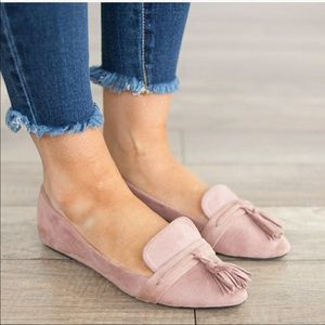 Shoes - Tassel flats loafers women's shoes blush pink